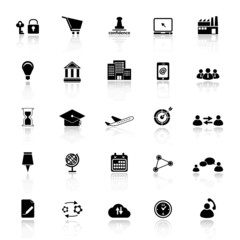 Business connection icons with reflect on white background