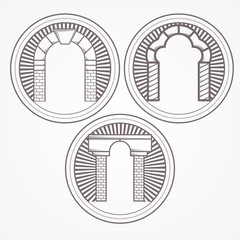 Illustration of three types brick arch icon