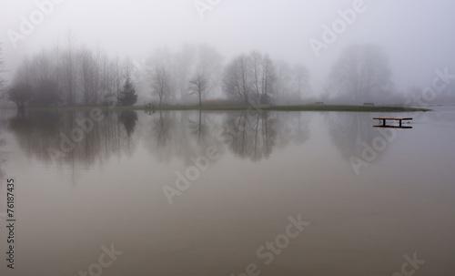 Leinwandbild Motiv Snoqualmie river floods the park in Duvall, Washington
