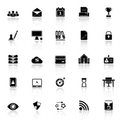 Business management icons with reflect on white background