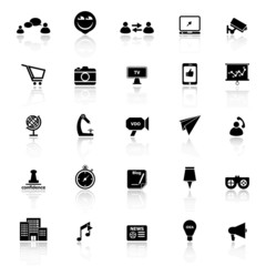 Media marketing icons with reflect on white background
