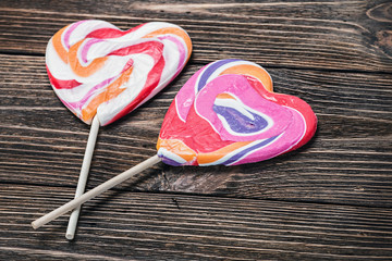lollipop in form of heart on the table
