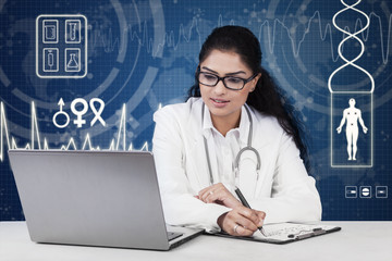 Doctor working on desk with futuristic background