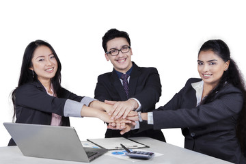 Entrepreneurs team showing unity with their hands