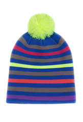 Striped colored knitted hat.