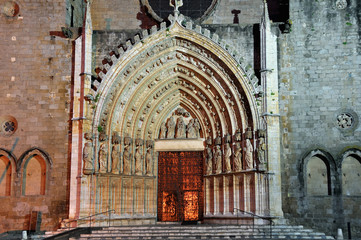 Facade of Cathedral, Castello d'Empuries, Spain