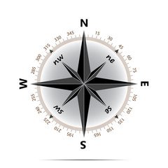 Compass symbol with shadow on white background