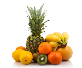 Bunch of citrus and tropical fruits