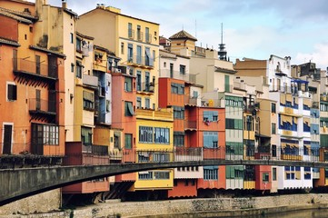Colorful houses of Girona, Catalonia