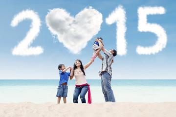 Joyful family under cloud of 2015