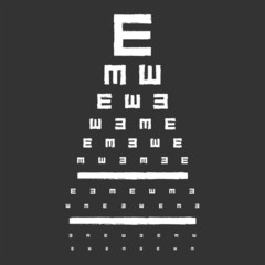 Eye Sight Test Chart On Blackboard