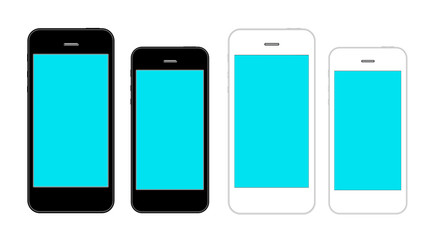 Smartphones in two color and two sizes