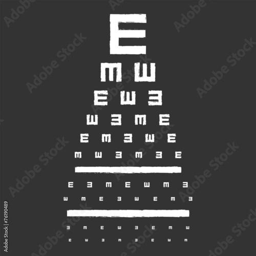 Fototapeta Eye Sight Test Chart On Blackboard