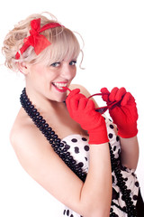 blonde in gloves