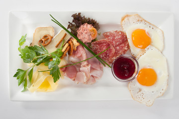 breakfast plate with fried eggs