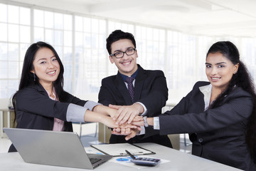 Multiracial business team showing unity