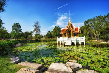 Thai style pavilion on the water at Rama 9 Garden