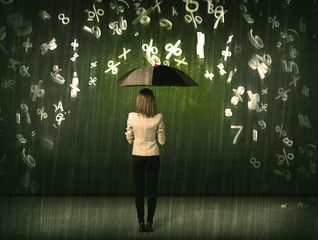 Businesswoman standing with umbrella and 3d numbers raining conc