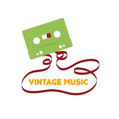 Vintage music. Vector flat design