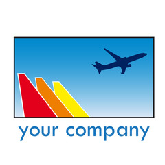 Vector sign travel, airplane in takeoff