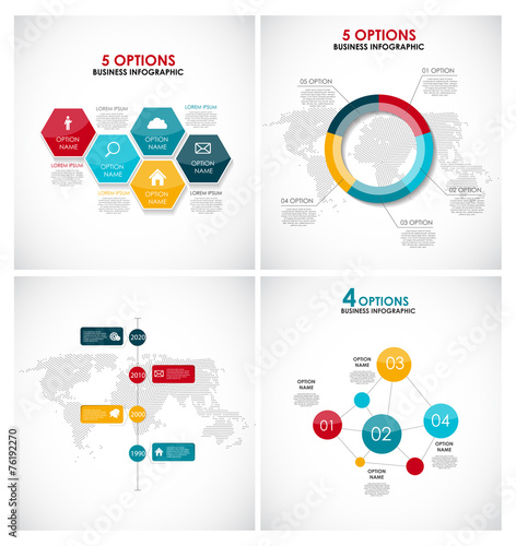 Tuinposter Abstract bloemen Collection of Infographic Templates for Business Vector Illustra