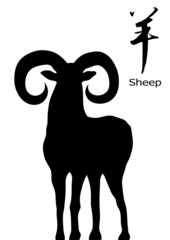 sheep with sheep for chinese calligraphy. vector