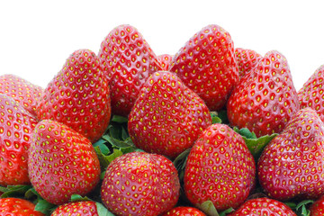 Pile strawberries isolated on a white background