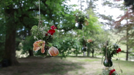 Glass vases with flowers hanging from tree