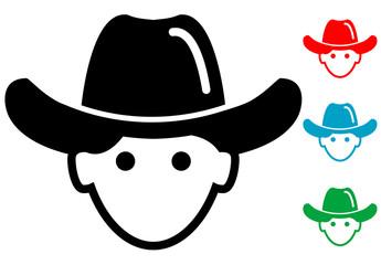 Pictograma icono cowboy en varios colores