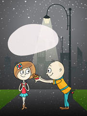 Cute cartoon of a couple for Happy Valentines Day celebration.