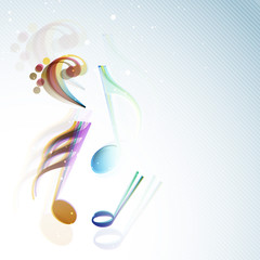 Shiny colorful musical notes on blue background.
