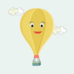 Flying hot air balloon with cartoon face.