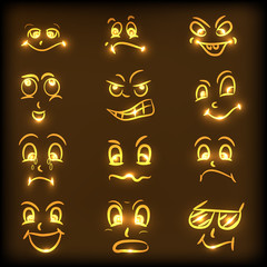 Set of different facial expressions in golden color.