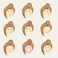 Cute girl cartoon with different facial expressions.