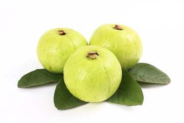 Guavas and leaves the white background