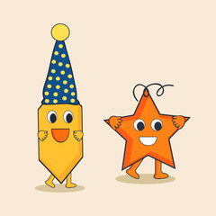 Character or pencil in cap and star in happy mood.