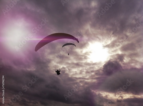 Paragliders silhouette