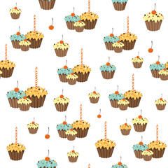 Celebration pattern with cupcakes