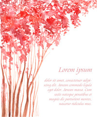 Romantic card with pink blossom trees.