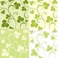 Set of seamless patterns from clover leaves