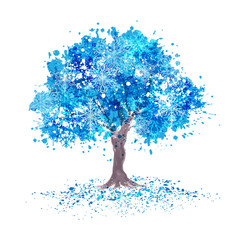 Winter tree with blue abstract leaves and snowflakes