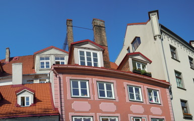 Red roofs, dormers and chimneys (Riga, Latvia)