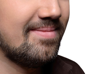 Man's beard on a cropped face