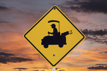 Golfer Crossing Sign with Sunrise