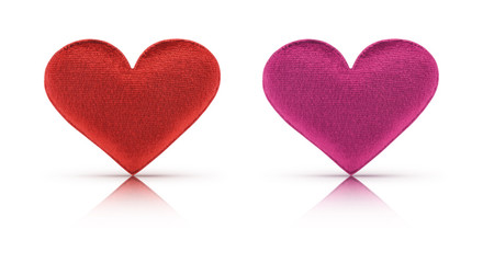 Fabric red and pink heart with clipping path