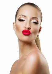 Portrait of beautiful woman, she is sending kiss