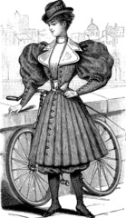 Vintage picture lady bicycle