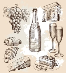 bottle of sparkling wine and snacks