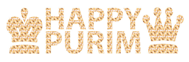 Happy Purim written in English with Hamantaschen letters