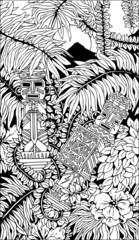 Aztec Totems Doodle Art